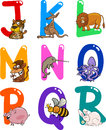 Cartoon Alphabet with Animals Royalty Free Stock Image