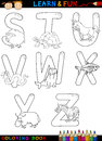 Cartoon Alphabet with Animals for coloring Stock Images