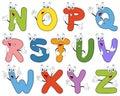 Cartoon Alphabet Characters N-Z Royalty Free Stock Photo