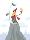 A cartoon alpinist on top of a mountain smiling and doing a victory gesture Stock Image