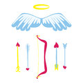 Cartoon Amour weapons set . Bow, wings, nimbus and arrows with heart. Cupids stuff. Valentines Day romantic set. Vector