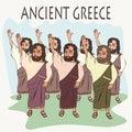 Cartoon ancient greek hand vote