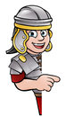 Cartoon Ancient Roman Soldier Pointing