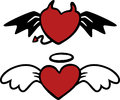Cartoon angel and evil hearts vector illustration of separate layers for easy editing Stock Photo