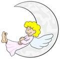 Cartoon angel sleeping on the moon Royalty Free Stock Photo