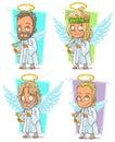 Cartoon angels with golden nimbus and harp character vector set