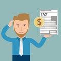 Cartoon Angry Businessman Tax Dollar