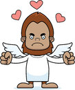 Cartoon angry cupid sasquatch a looking Stock Photography