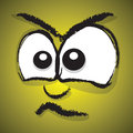 Cartoon angry face a yellow Royalty Free Stock Photo