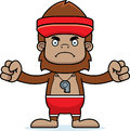 Cartoon angry lifeguard sasquatch a looking Royalty Free Stock Image