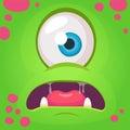 Cartoon angry monster face avatar. Vector Halloween green monster with one eye. Monster mask.