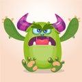 Cartoon angry monster. Halloween vector illustration or troll