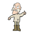 Cartoon angry old man in patched clothing hand drawn illustration retro style vector available Stock Images