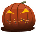Cartoon angry pumpkin with closed mouth illustration of Stock Photography