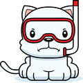 Cartoon angry snorkeler kitten a looking Royalty Free Stock Images