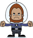 Cartoon angry spaceman sasquatch a looking Royalty Free Stock Image