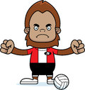 Cartoon angry volleyball player sasquatch a looking Royalty Free Stock Photos