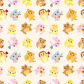 Cartoon animal Afternoon Tea time seamless pattern Royalty Free Stock Photo