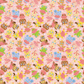 Cartoon animal ballerina seamless pattern Stock Photos