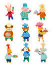 Cartoon animal chef icons Royalty Free Stock Photography