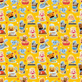 Cartoon animal chef seamless pattern Stock Photo