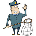 Cartoon animal control officer holding net catching animals Royalty Free Stock Images