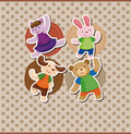 Cartoon animal dancer seamless pattern Stock Photo