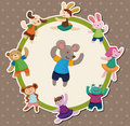 Cartoon animal dancer seamless pattern Stock Image