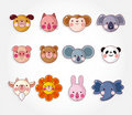 Cartoon animal face icon set, Stock Image