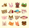 Cartoon animal face icons Royalty Free Stock Images