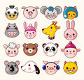 Cartoon animal face icons Stock Image