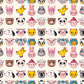 Cartoon animal face seamless pattern Stock Photography