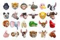 Cartoon Animal Faces Icon Set Royalty Free Stock Photo