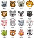Cartoon Animal Faces Set [2] Royalty Free Stock Photo