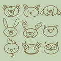 Cartoon animal head doodle Stock Images