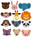 Cartoon animal head icon Stock Photos