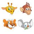 Cartoon animal head icons collection. Vector set of wild animals including giraffe, chimpanzee monkey, tiger and koala bea