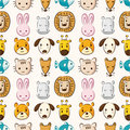Cartoon animal head seamless pattern Royalty Free Stock Image