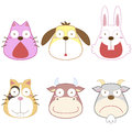 Cartoon animal head set vector Stock Photo