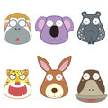 Cartoon animal head set vector Royalty Free Stock Image