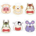 Cartoon animal head set vector Stock Image