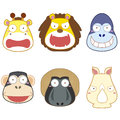 Cartoon animal head set vector Royalty Free Stock Photos