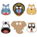 Cartoon animal head set vector Stock Photography