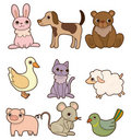 Cartoon animal icon set Royalty Free Stock Image