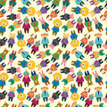 Cartoon animal office worker seamless pattern Stock Photo