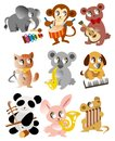 Cartoon animal play music icon Stock Photography