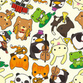 Cartoon animal play music seamless pattern Royalty Free Stock Image