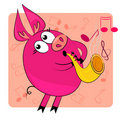 Cartoon animal play musical instrument. Stock Images