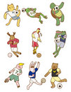 Cartoon animal soccer icon Stock Photography