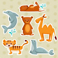 Cartoon animal stickers Stock Images